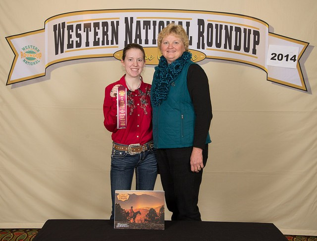 Emma Howey of Sargent County places seventh in the horse individual demonstration at the Western National Roundup in Denver, Colo. Howey (left) is pictured with her coach, Julie Hassebroek.
