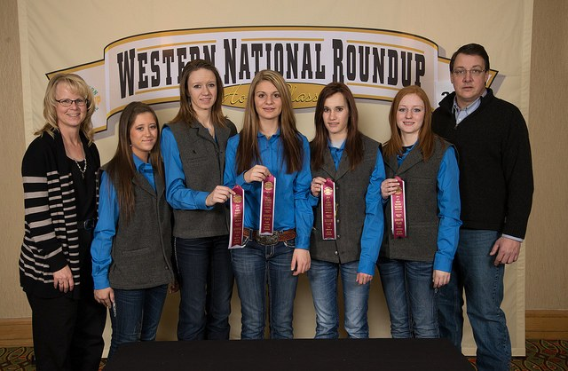 North Dakota's horse quiz bowl team places seventh at the Western National Roundup in Denver, Colo. Pictured (from left) are Mindy Sigvaldsen, coach; team members Cheyenne Liedle (Mountrail County), Maria Levin (Stutsman County), Shambre Feiring (Mountrail County), Taylor Smith (Mountrail County) and Haley Goodall (Mountrail County); and Jim Hennessy, coach.