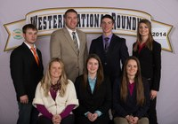 The Kidder County livestock judging team places 11th overall at the Western National Roundup in Denver, Colo. Pictured are (back row from left) coaches Brandon Koenig and Zac Hall and team members Aaron Subart and Megan Gross, and (front row from left) coach Lacey Schneider and team members Monica Fitterer and Kacey Koester.