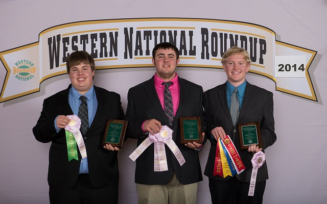 The Mountrail County meats judging team places second at the Western National Roundup in Denver, Colo. Pictured (from left) are team members Daniel Bolen, Dylan Enger and Jonathon Rosencrans.