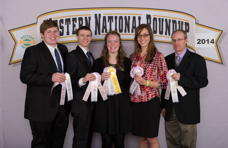 The Oliver County consumer choices team places third overall at the Western National Roundup in Denver, Colo. Pictured (from left) are team members Shane Giedd, Tanner Berger, Emily Klein and Rebecca Liffrig, and coach Rick Schmidt.