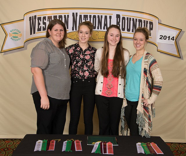 The Ward County horse judging team places fifth overall at the Western National Roundup in Denver, Colo. Pictured (from left) are Paige Brummund, coach, and team members Shaylee Miller, Kara Scheresky and Kali Miller.