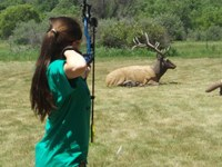 Alivia McCarthy of Ramsey County is taking a shot at a 3-D target during the 4-H Archery Shooting Sports State Match held at the North Dakota 4-H Camp near Washburn. (NDSU photo)