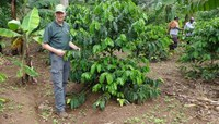 Hans Kandel, NDSU Extension agronomist, visits a new coffee plantation in Uganda as part of his effort to help increase the African country's coffee production. (NDSU photo)