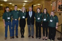 Several North Dakota 4-H delegates meet with Gov. Jack Dalrymple (center) during the 2015 Citizenship in Action event. The delegates are (from left) Alex Irlmeier, Stutsman County; Ceph Dockter, Stutsman County; Brittany Aasand, Foster County; Jacey Retzlaff, Foster County; Casey Mack, Foster County; and Mariah House, Foster County.