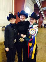 Janna Rice (center), a senior from Maddock, is advancing to semifinal competition in Ohio. Rice, along with Rylee Burkett, a senior from Rochester, Ind. (left), and Nicole Holasek, a senior from Waconia, Minn., competed in an event at the NDSU Equine Center in February. (NDSU photo)