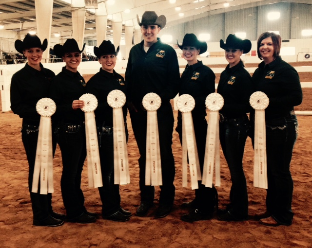 NDSU riders display the ribbons they received in competition this spring. Pictured are (from left) team members Courtney Bolstad, Nicole Anderson, Hannah Bucheger, Blaine Novak, Janna Rice and Allee Lee, and coach Tara Swanson.