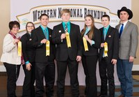 The Morton County livestock judging team places 11th overall at the Western National Roundup in Denver, Colo. Pictured are (from left): Jackie Buckley (coach), team members Kelsie Schaff, Jameson Ellingson, Conner Kaelberer, Sara Jochim and Stetson Ellingson, and Luke Keller (coach). (Photo courtesy of Western National Roundup)