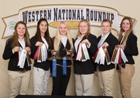 The Stark-Billings County horse judging team places eighth overall at the Western National Roundup in Denver Colo. Pictured are team members (from left): Morgan Nelson, Alexa Dineen, Alisha Dworshak, Madison Kadrmas, Christina Stroh and Tristen Polensky. (Photo courtesy of Western National Roundup)