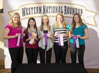 The Walsh County consumer choices team places third overall at the Western National Roundup in Denver, Colo. Pictured are team memebers (from left): Emily Zikmund, Rachel Klose, Mikayla Fingarson, Julia Koppang and Gretchen Brummond. (Photo courtesy of Western National Roundup)