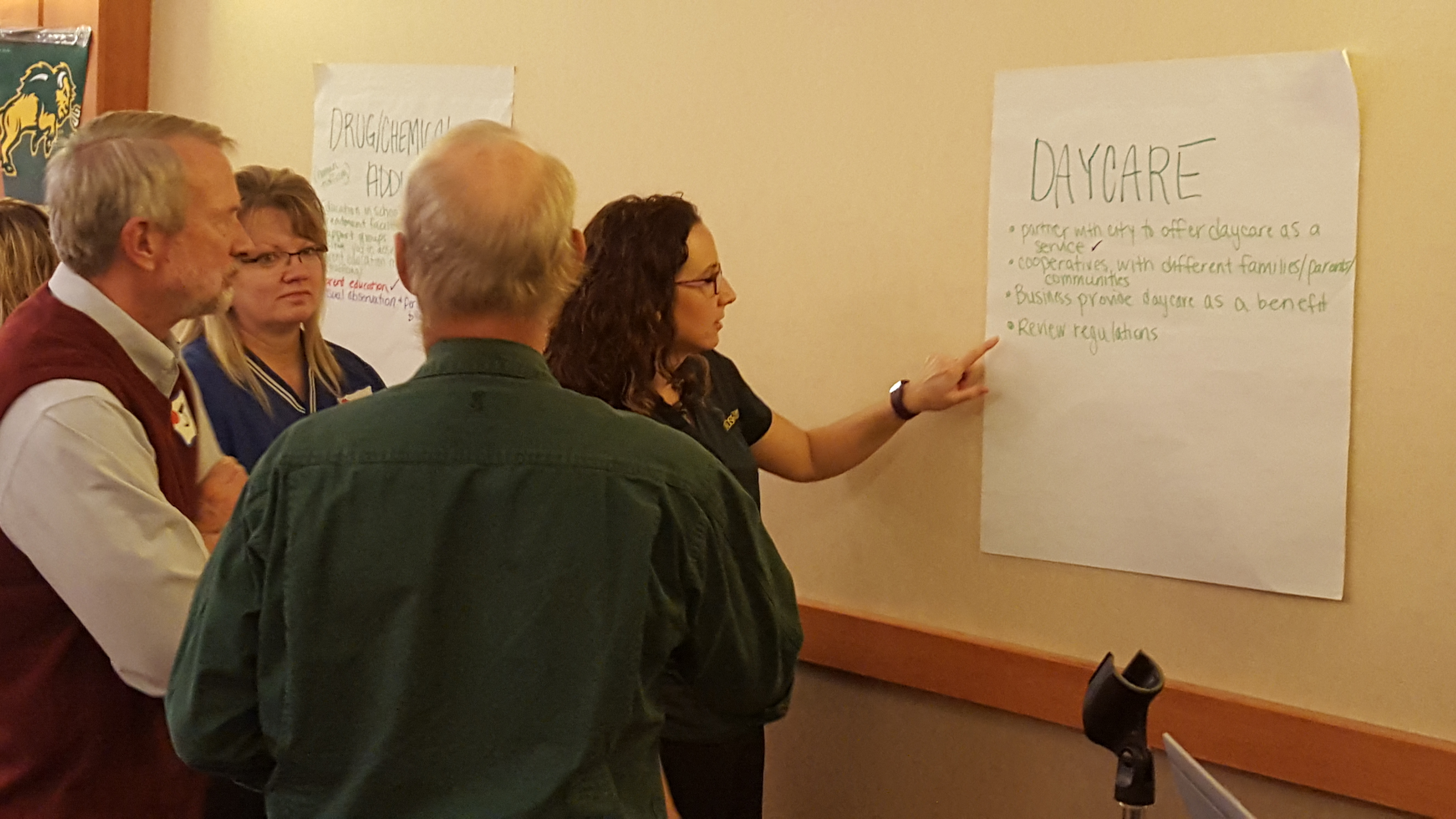 North Dakotans share their concerns at an NDSU Exension Service community forum in St. Michael. (NDSU photo)