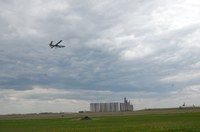 The Hermes 450 takes off from the Hillsboro Municipal Airport on its first data-collection flight Friday. (NDSU photo)