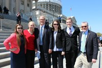 The four North Dakota 4-H'ers selected to attend the National 4-H Conference have a chance to meet with the state's congressional delegation. Pictured from left are: 4-H members Kaitlyn Nelson and Emily Joerger, U.S. Congressman Kevin Cramer, 4-H'ers Billie Lentz and Colton Christmann, and the youths' chaperone, NDSU Extension Service Southeast District Director Ron Wiederholt.