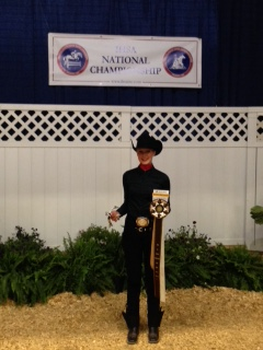 Courtney Bolstad places eighth in intermediate horsemanship at the Intercollegiate Horse Show Association National Show earlier this month in Lexington, Ky. (NDSU photo)