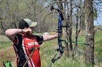 Braeden Kraft of Morton County takes a shot during the 4-H Archery Shooting Sports State Match. (NDSU photo)