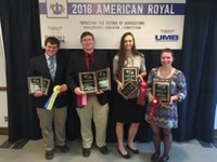 The Pierce County 4-H meat judging team takes second place overall at the National 4-H Meat Evaluation and Identification Contest. The team members are (from left) Devin Volk, Shane Giedd, Breanna Thompson and Abby Volk. (Photo courtesy of Rick Vannett)