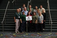 Several NDSU Extension agents and specialists attended the National Association of County Agricultural Agents conference, where they were honored for their work. Pictured are, from left, front row: Charlie Stoltenow, assistant director, agriculture and natural resources; Lisa Pederson, beef quality specialist; Calla Edwards, agent, McLean County; Mary Berg, area livestock environmental management specialist; and Alicia Harstad, agent, Stutsman County; center row: Craig Askim, agent, Mercer County; Karl Hoppe, area livestock systems specialist; Katelyn Hain, agent, Nelson County; Kathy Folske, wife of agent Dan Folske; and Lindy Berg, agent, Towner County; back row: Brad Brummond, agent, Walsh County; Chris Augustin, area soil health specialist; Dan Folske, agent, Burke County; and Todd Weinmann, agent, Cass County. (NDSU photo)