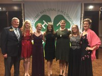 Four North Dakota youth are delegates to the 2017 National 4-H Congress in Atlanta, Ga. Pictured are, from left, Brad Cogdill, chair, NDSU Extension Service Center for 4-H Youth Development; delegates Bethany Reiten and Anna Skarphol; Miss America, Cara Mund; delegates Dalyce Leslie and Karly Just; and chaperone Caroline Homan. (Photo courtesy of Dalyce Leslie)