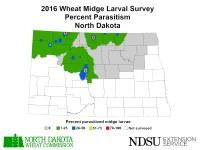 2016 Wheat Midge Larval Survey - Percent Parasitism - North Dakota