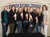 North Dakota's horse quiz bowl team places fifth overall at the Western National Roundup in Denver, Colo. Picutred are, from left: coaches Julie Hassebroek (Sargent County) and Paige Brummund (Ward County); team members Kaitlyn Shockley, Laura Levin, Victoria Christensen and Andrea Skarphol; and coach Linda Levin (Stutsman County). (Photo courtesy of Adam Warren Photography)