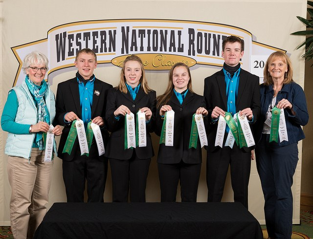 The Benson County horse judging team places fourth at the Western National Roundup in Denver, Colo. Pictured are, from left: coach Barb Rice; team members Jacob Arnold, Marit Wang, Ashton Wold and Will Rice; and coach Diane Randle. (Photo courtesy of Adam Warren Photography)