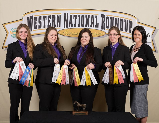 The Kidder County hippology team places fourth overall at the Western National Roundup in Denver, Colo. Pictured are, from left: team members Morgan Dutton, Kaden Strom, Cheyenne Klien and Teresa Wald, and coach Erin Benshoof. (Photo courtesy of Adam Warren Photography)
