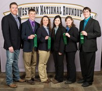 The Kidder County livestock judging team places 18th overall at the Western National Roundup in Denver, Colo. Picutred are, from left: coach Zac Hall and team members Jaxon Deckert, Shaye Koester, Michelle Fitterer, Cierra Dockter and Dalton Dockter. (Photo courtesy of Adam Warren Photography)