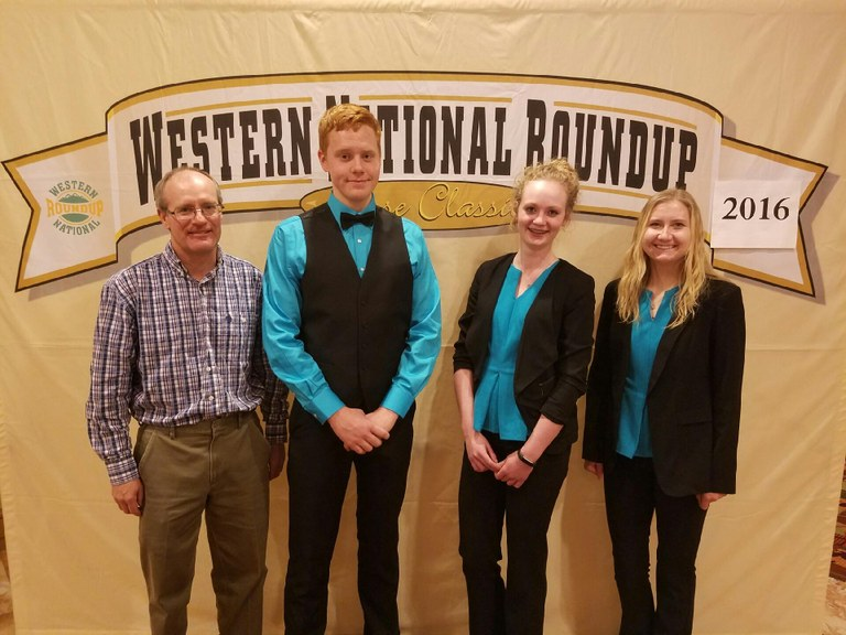 The Oliver County consumer choices team places seventh overall at the Western National Roundup in Denver, Colo. Pictured are, from left: coach Rick Schmidt and team members William Liffrig, Abby Hintz and Kaitlyn Peterson. (Photo courtesy of Adam Warren Photography)