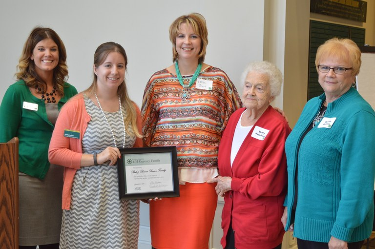 The Benson/Jacobson family of Benson County is named a 4-H century family. Pictured are, from left: Meredith Pittenger, formerly of the North Dakota 4-H Foundation; Kimberly Fox, NDSU Extension Service agent in Benson County; Lorissa Green; Betty Jacobson and Bonnie Benson. (NDSU photo)
