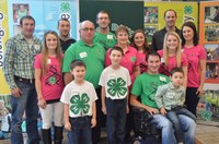 The Leier family of Emmons and Logan counties is named a 4-H century family. Pictured are, from left, front row: Dawson VanderVorst, Tucker VanderVorst, Nathan Leier and Judson VanderVorst; middle row: Alex Deis, Nancy Deis, Larry Leir, Rosalind Leier, Marissa Leier, Alissa Leier and Nicole VanderVorst; back row: Matthew Leier, Aaron Leier and Dustin VanderVorst. (NDSU photo)