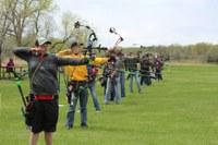 Youth take aim at the North Dakota 4-H Archery Championships. (NDSU photo)