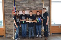 Ward County's team places first in the Civic U contest for the second year in a row. Pictured are team members (from left) Emily Fannik, Shelsey Brandvold, Wyatt Kersten, Dalaney Ruhland and Ben Scheresky. (NDSU photo)