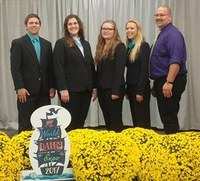 North Dakota's dairy judging team brings home several team and individual awards from the World Dairy Expo. Pictured are, from left: team members Jameson Ellingson, Brooke Kunz, Ivy Klusmann and Sierra Ellingson, and team co-coach Nathan Boehm.