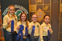 A Kidder County team won first place in the junior division of the hippology contest. Pictured are (from left): team members Mica Klein, Alea Kramlich, Jade Shipley and Elyse Tufte. (NDSU photo)