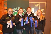 A Ward County team took first place in the senior division of horse judging. Pictured are (from left): team members Mariah Braasch, Madilyn Berg, Sidney Lovelace and Kaitlyn Berg. (NDSU photo)