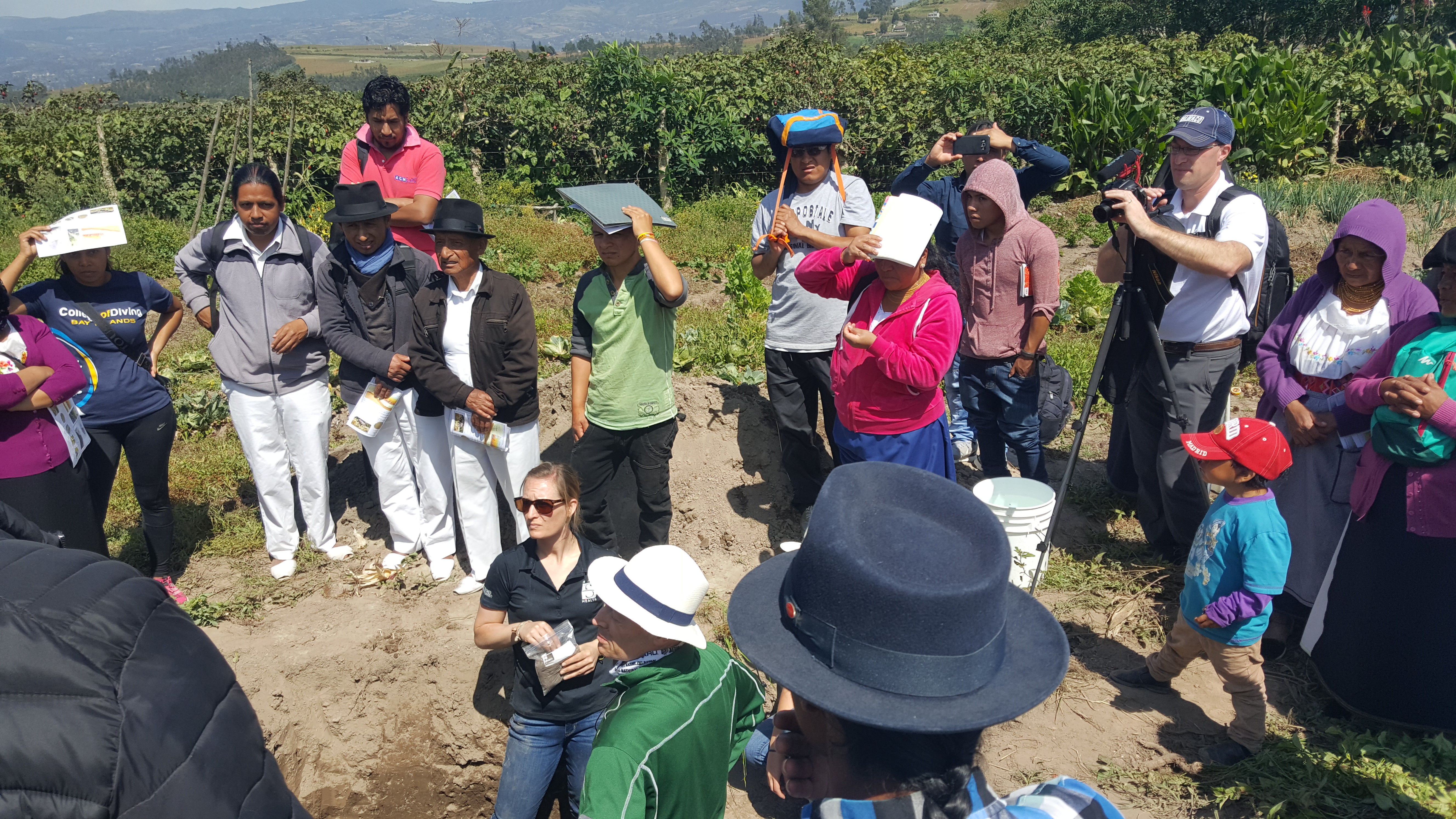 NDSU students and faculty visit farmers to learn about local farming practices and production constraints during a recent trip to Ecuador for a special topics course. (NDSU photo)