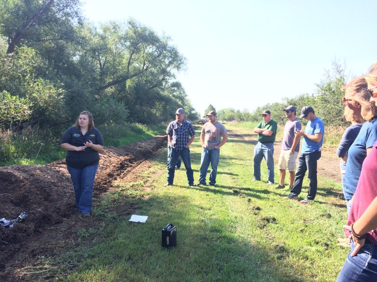 Megan Vig (left), NDSU Extension agent in Griggs County, discusses creating good-quality compost during the Carrington Research Extension Center's 2017 Nutrient Management Day. (NDSU photo)