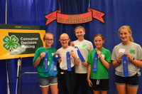 The Barnes County team took first place in the junior division of the North Dakota 4-H consumer decision making contest. Pictured are (from left): Kaidence Harstad, Allison Bryn, Matayia Thompson, Chesney Thomsen and Alyssa Thomsen. (NDSU photo)