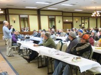 Hans Kandel, NDSU Extension agronomist, speaks to a Diversity, Direction and Dollars agricultural forum audience about growing soybeans. (NDSU photo)