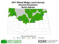 2017 Wheat Midge Larval Survey Percent Parasitism, North Dakota