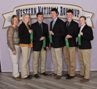 The Dickey County 4-H team took 12th place in livestock judging at the Western National Roundup. Pictured are (from left): coach Janell Hauck and team members Kadey Holm, Reed Wendel, Jacob Hauck, Caleb Hauck and Calli Hauck. (Photo courtesy of Western National Roundup)