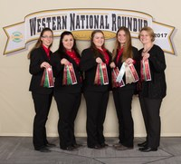 The Kidder County 4-H team took seventh in horse judging at the Western National Roundup. Pictured are (from left): team members Teresa Wald, Cheyanne Klein, Kaden Strom and Morgan Dutton, and coach Penny Nester. (Photo courtesy of Western National Roundup)