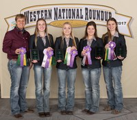 The Morton County 4-H team placed second in hippology at the Western National Roundup. Picture are (from left): coach Nicole Goldade and team members Katelyn Eisenbeis, Brooke Heidrich, Morgan Henke and Ashley Goldade. (Photo courtesy of Western National Roundup)