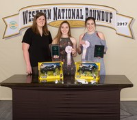 The Ward County 4-H team placed second in horse demonstration at the Western National Roundup. Pictured are (from left): coach Paige Brummund and team members Madilyn Berg and Sidney Lovelace. (Photo courtesy of Western National Roundup)