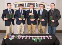The Ward County 4-H team took second place in meat judging at the Western National Roundup. Pictured are (from left): team members Jacob Scheresky, Jayd Novak, Samuel Jaeger and Thomas Schauer, and coach Christopher Rockeman. (Photo courtesy of Western National Roundup)