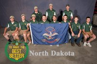 North Dakota youth bring home team and individual honors from the 2018 4-H National Shooting Sports Championships. Pictured are (from left, front row): Nathan Lorenz, Forrest Hanson, Josh White, Thomas Mitchell, Landon Sprague, Kail Larsen, Will Peckham and Ordale Morstad; (back row) coaches Doug Darling, Norm Howard and Eudell Larsen. (Photo courtesy of National 4-H Shooting Sports)