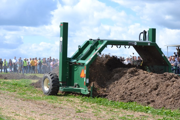 Participants at the 2017 North American Manure Expo view a compost turner demonstration. (Photo courtesy of Robb Meinen, Penn State)