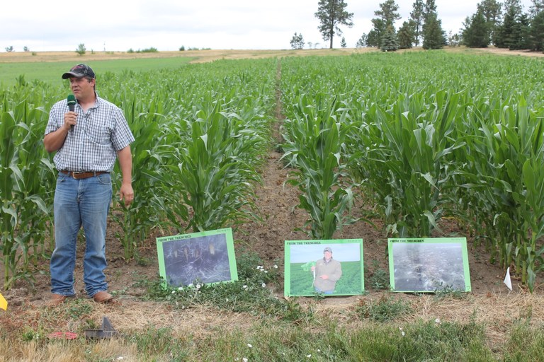 Keynote speaker J.P. Heber of Zell, S.D., talks about cover crops and biological strip-till farming during the Dickinson Research Extension Center's 2017 field day. (NDSU photo)