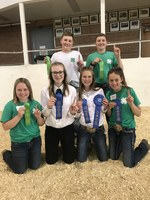 The Morton County team took first place in the junior division of the North Dakota 4-H Dairy Judging Contest. Pictured are back row (from left): Stran Ressler and Cooper Strommen, and front row (from left): Sheridan Ellingson, Cassidy Strommen, Jada Bonogofsky and Medora Ellingson. (NDSU photo)