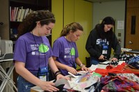 Youth make sensory pillows for people in memory care units as a service project during the 2017 Extension Youth Conference in Fargo. (NDSU photo)